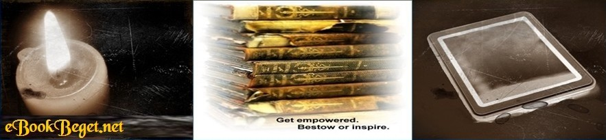 A website entry banner which includes the ebookbeget.net name and two slogans:  Get empowered.  Bestow or inspire.